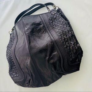 Purple crinkle patent leather Handbag